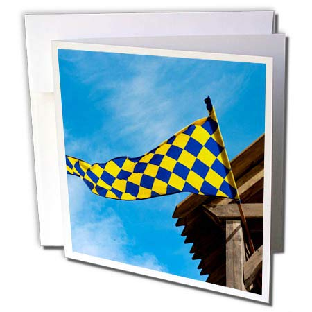 3dRose Alexis Photography - Objects Flags - Checkered Blue, Yellow Flag, Blue Sky, White Clouds, Wooden roof - 6 Greeting Cards with envelopes (gc_295019_1)