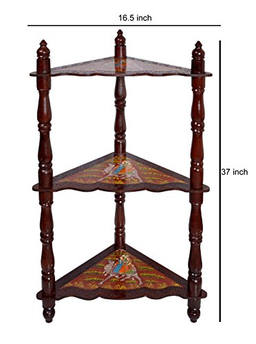 Wooden Brown Corner Shelf & Corner Bookcase / Standing Shelf Units 37 x 16.5 x 16.5 Inch by Lalhaveli