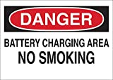 Brady 10'' X 14'' X .06'' Black/Red On White .0591'' B-401 Polystyrene No Smoking Sign''BATTERY CHARGING AREA NO SMOKING''