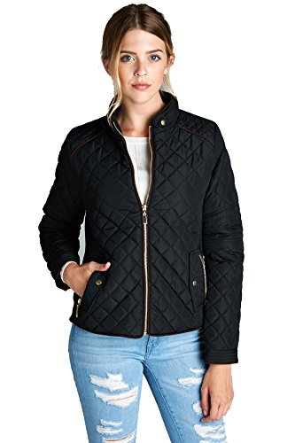 Active USA Women's Long Sleeve Quilted Padding Jacket with Suede Piping Zipper Pocket Winter Outerwear (S, Black)