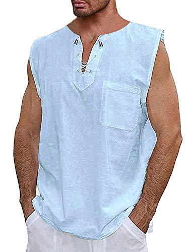 Runcati Mens Cotton T Shirt Casual Beach Hippie Yoga Tees Plain Drawstring Lace-up Summer Tops (Large, 03 Blue)