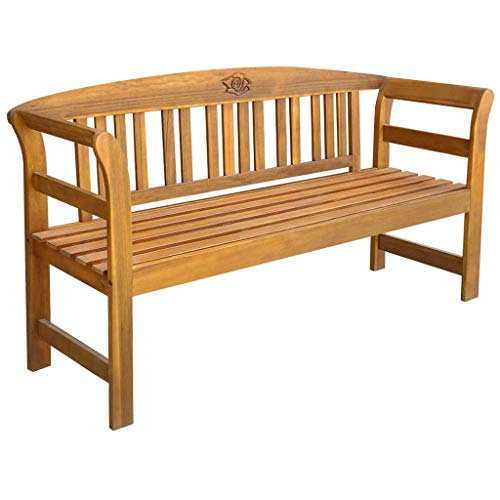 Garden Bench Wooden Bench with Engraved Rose Patio Bench for Parks School Playgrounds Colleges Gardens Courtyards Balconies