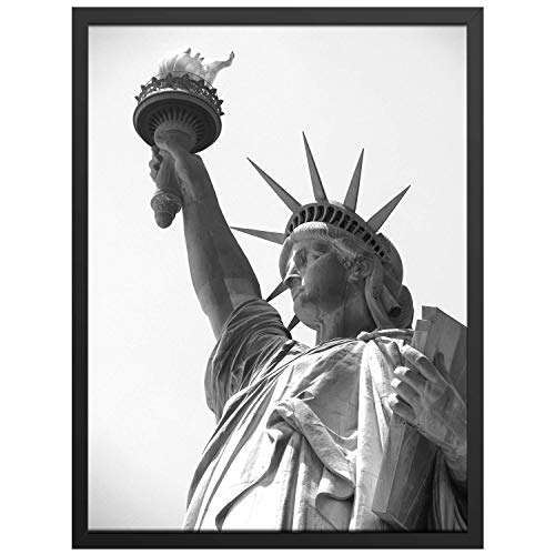 ONE WALL Tempered Glass 18x24 Poster Frame, Black Wood Photo Picture Frame for Wall Vertically or Horizontally Display - Mounting Hardware Included (18x24 Photo Frame)
