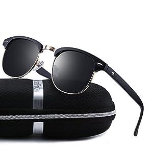 wearPro Clubmaster Sunglasses for Men Women Retro Semi-Rimless Polarized Sun Glasses WP1006 (matte_black)