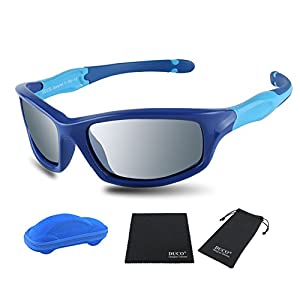 Duco Kids Sports Style Polarized Sunglasses Rubber Flexible Frame For Boys And Girls K006 (Blue Frame Blue Temple Mirror Lens, 55)