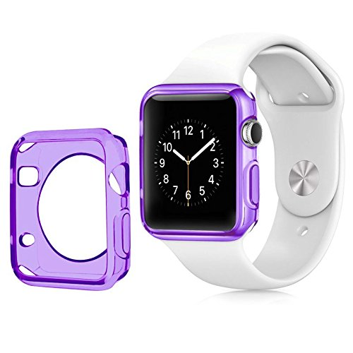 Apple Watch Color TPU W/ Built in Corner & Edge Protection SERIES 1, 2 & 3 LTE / GPS Bumper Slim Skin [iWatch Gel Cover] Protective Case Shockproof Clear Protection Accessories (1x Purple, 38mm)