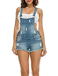 TwiinSisters Women's Destroyed Slim Curvy Pants Stretch Short Overalls Size S - 3X