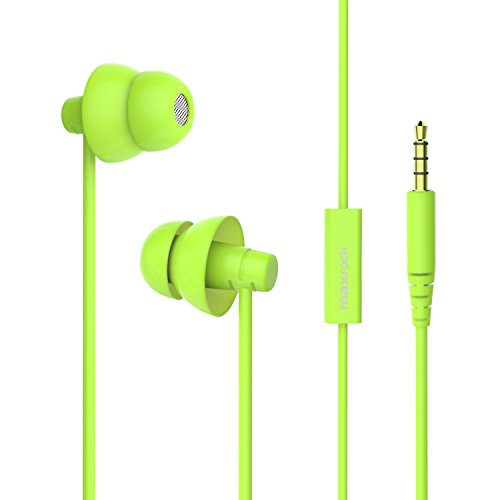 Mini Soft Earbuds (MAXROCK (TM) Total Soft Silicon Headphones with Mic Sleep Travel Choice for Cellphones Tablets and 3.5mm Jack (Green))