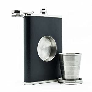 The Original Shot Flask - 8oz Hip Flask with a Built-in Collapsible Shot Glass - Stainless Steel with Premium Bonded Leather Wrapping (Black)