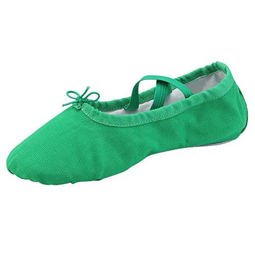 staychicfashion Womens Ballet Practice Ballroom Dance Shoes Canvas Belly Slippers Split-Sole(7, Green)
