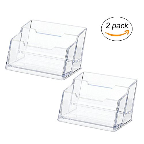 Maogear Business Card Case Holder, 2 Tier Premium Acrylic Clear Business Card Holder Display, Plastic Business Card Stand Organizer for Office (2 Pack) - Display Case 2 Tier