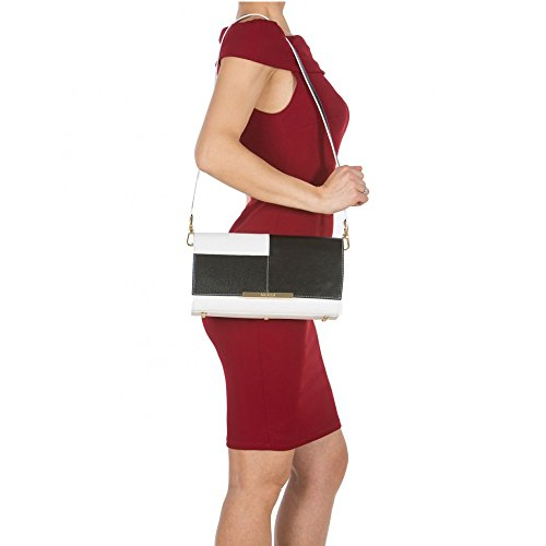 Arcadia Mandy sac à bandoulière en cuir design - blanc noir