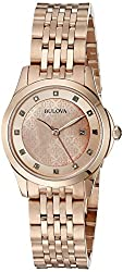 Bulova womens 97P112 14mm Rose Gold Rose Gold Watch Bracelet