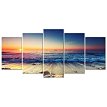 Pyradecor 5 Panel Modern Seascape Artwork Stretched and Framed Sea Beach Pictures Giclee Canvas Prints Waves Paintings on Canvas Wall Art for Living Room Bedroom Home Decor