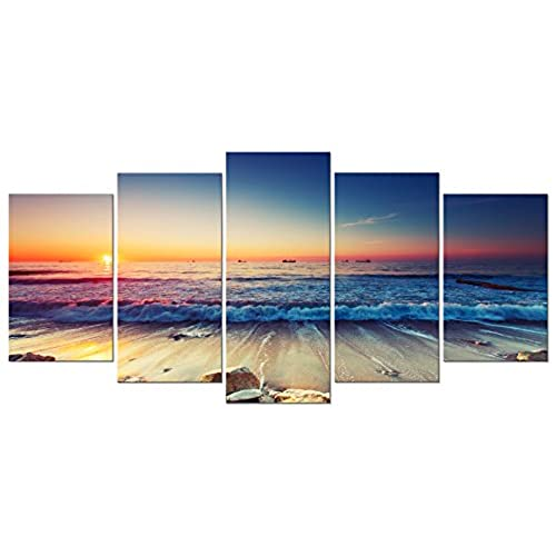 Pyradecor 5 Panel Modern Seascape Artwork Stretched And Framed Sea Beach  Pictures Giclee Canvas Prints Waves Paintings On Canvas Wall Art For Living  Room ...