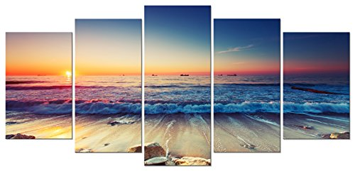 Pyradecor Ocean Seascape Canvas Prints Wall Art Sea Beach Pictures Paintings for Living Room Bedroom Home Decorations 5 Piece Modern Stretched and Framed Ready to Hang Landscape Giclee Artwork
