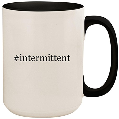 #intermittent - 15oz Ceramic Colored Inside and Handle Coffee Mug Cup, Black ()