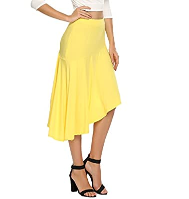 Zeagoo Women's High Waist Solid Stretchy Irregular Ruffle Hem Patchwork Knee Midi Skirt