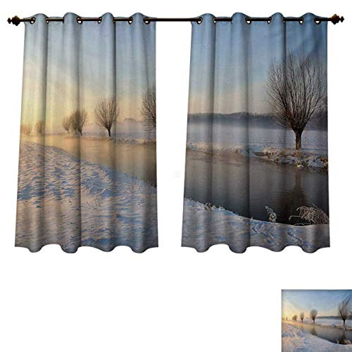 RuppertTextile Winter Blackout Thermal Curtain Panel Snowy River Landscape Barren and Frosted Trees Dutch Netherlands Europe Photograph Patterned Drape for Glass Door Multicolor W63 x L72 inch