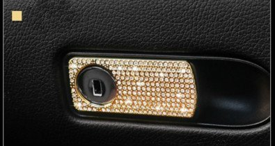 Boobo Ice Out Passenger Side Storage Box Handle Locker Cover Trim Bling Emblem With Genuine Austrian Crystal For Mercedes Benz E C GLC ()