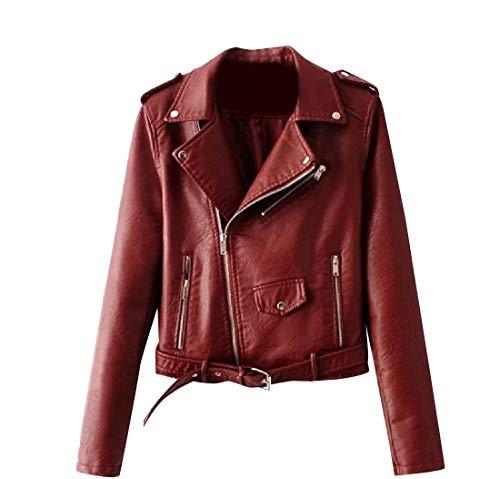 Rosso Vino Cappotto Mini Premio Moto Howme Outwear Cuoio Pu donne Cappotto Di wpPxH7q