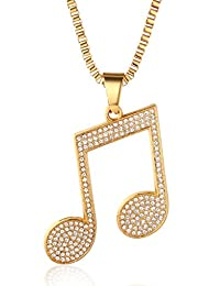 """Halukakah """"IN GOLD WE TRUST"""" Men's 18k Real Gold Plated Music Symbol Pendant Necklace with FREE Box Chain 30"""""""