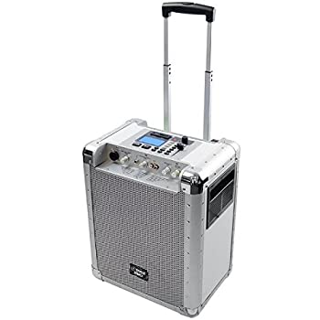 Image of Audio Docks Pyle White 400 Watt Outdoor Portable Wireless PA Loud speaker System with Rechargeable Battery, Auxiliary RCA jack for ipod, Microphone Jack, USB / SD Reader, Wheels Gain and DJ Controls - PCMX265W