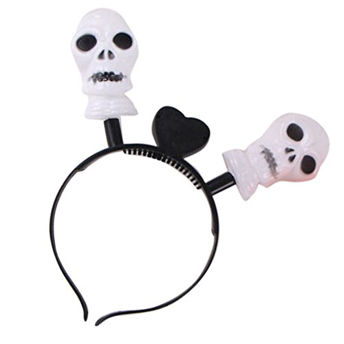 LED Halloween Skull Headband by Hello Halloween | Flashing Led Hair Band | Halloween Accessories | Halloween Light Up Party Props Headbands for Kids or Adults | Batteries Included | (Super Hoops Costumes)
