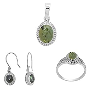Shine Jewel Green Tourmaline 925 Sterling Silver Pendant Earring And Ring Jewelry Set