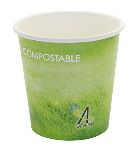 Special Green Grass Design, Paper Hot Cup,Eco-friendly,100% Blodegradable&Compostable, 50 count. (4 OZ)