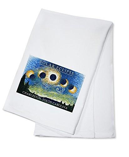 Charleston, South Carolina - Solar Eclipse 2017 - Starry Night (100% Cotton Kitchen Towel) by Lantern Press