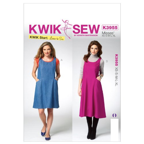 Kwik Sew Patterns K3955 Misses Jumper Sewing Template, All Sizes - Stretch Pinwale Corduroy