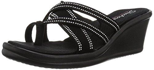 0a9907896 Skechers Women s Rumblers-CALI Spell-Studded Multi Strap Slide with Memory Foam  Wedge Sandal