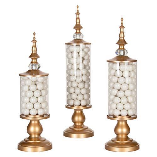 AMALFI DÉCOR Apothecary Jars Set of 3 Clear Glass Candy Dish Holder with Metal Lids Cookie Jar Buffet Display, Gold