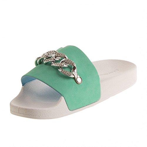 Strass argenté Claquettes Primtex maillon Piscine Femme Vert avec chaîne zwXwqPC4Ox