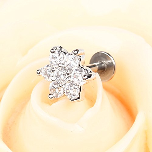 BODYA 1pc Silver Plated 16G 7mm Cubic Zirconia flower Lip Rings Labret Nose Studs Helix Round Shape Stud Earring Body Piercing Jewelry Photo #3