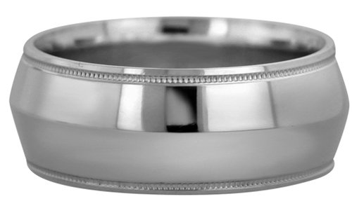 Wedding Bands; Platinum Knife Edge Milgrain Wedding Bands Men`s and Women`s 10mm Wide Comfort Fit