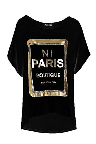 Womens NI PARIS Boutique Oversize Off Shoulder TShirt Ladies Baggy Lagenlook - Outlet Boutique