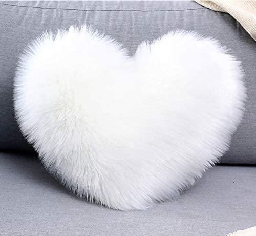 DEMDACO Cream Heart Shaped 10 x 11 inch Plush Polyester Decorative Throw Giving Pillow