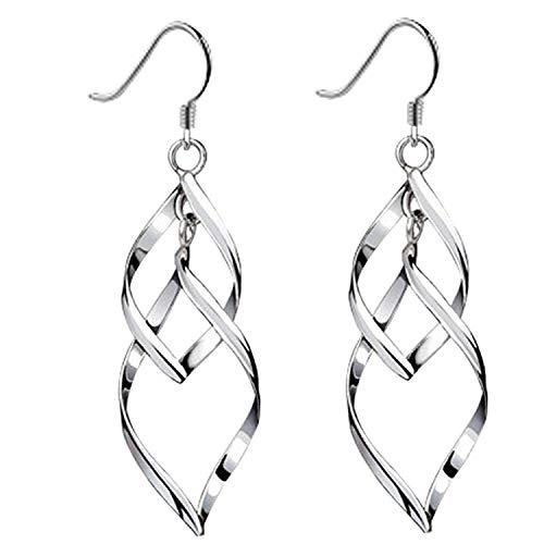 UEUC Classic Doule/Single Linear Loops 14K Sterling Silver Twist Wave Earrings for Women Girls