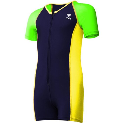 Tyr Boys Sport Competitor Thermal Suit, Navy/Green, 2 Tall