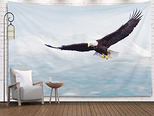 Sertiony Hanging Tapestry Wall Art, Art Map Tapestry Décor 80x60 Inches Bald Eagle in Flight and Illustrated Over Alaska Coastal Mountains Winter Nice Light on for Bedroom Colorful Big Tapestries