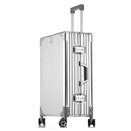1年保証 スーツケース アルミマグネシウム合金ボディ 軽量 キャリーケース 丈夫 キャリーバッグ TSAロック付 大容量 静音 ビジネス 旅行出張 B07RRNZ5DY シルバー. M