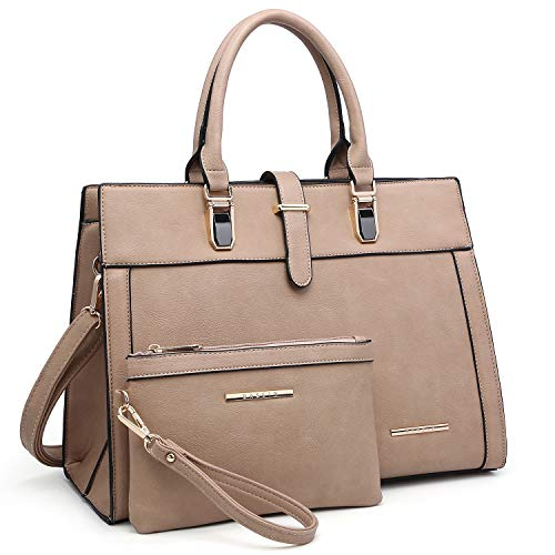 Women Satchel Ladies Top Handle Shoulder Bag Work Purse 2 Pieces Set Handbag Faux Leather (Beige)