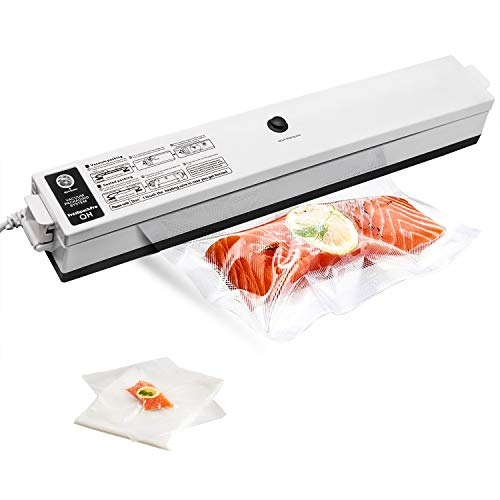 Wuayur Vacuum Sealer,Food Vacuum Packing Machine with Vacuum Hose Automatic Vacuum Sealing System With 15 Pcs Vacuum Sealer Bags[White] (Bag Machine Sealer)