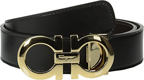 Salvatore Ferragamo Men's Reversible/Adjustable Belt-675542, Nero/Hickory, 32