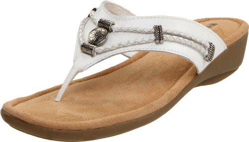 (Minnetonka Women's Silverthorne Thong Sandal,White,6 M US )