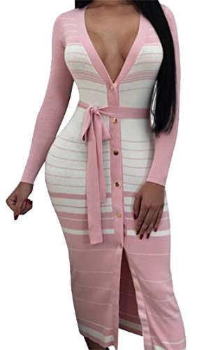 Sleeve Deep V Long BLTR Striped Bodycon Button Tie Club Party Women Neck Pink Waist Dress qIxtwI5rER