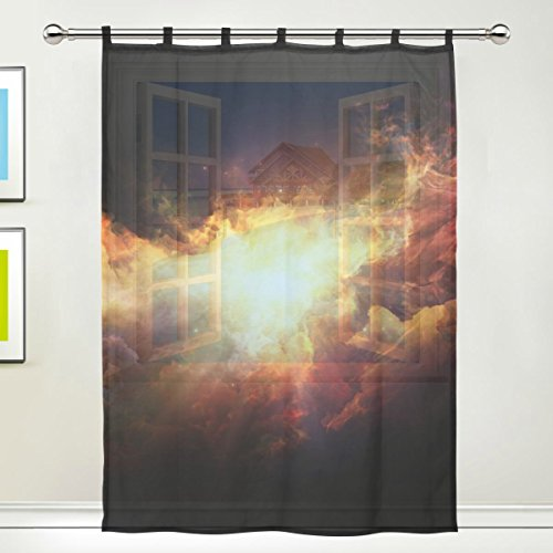 1 Piece Tulle Voile Window Room Decoration Sheer Curtain,3D Colorful Universe Galaxy Space Star Meteor,Single panel Gauze Curtain Drape Panel Valance 55 x 78 inch (78 Curtain Panel)