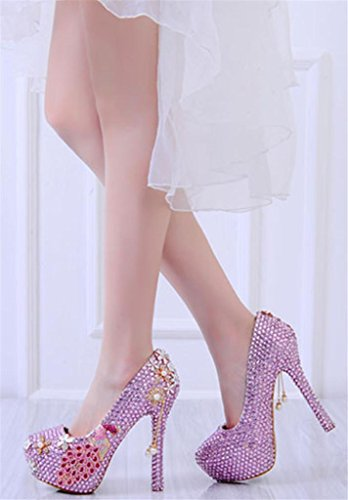 MNII Womens Crystal Rhinestones Pearl Bride Bridesmaids Court Shoes Wedding Party Evening Platforms High Heel, 38, 14cm Pink- Good Quality